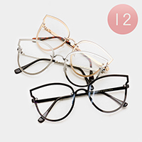 12 PCS - Oversized Cat Eye Shield Optical Glasses