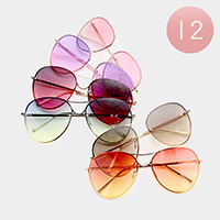 12 PCS - Oversized Oceanic Color Lens Aviator Sunglasses