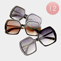 12 PCS - Oversized Retro Square Sunglasses