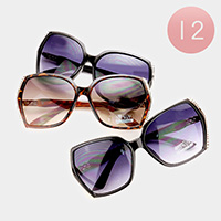 12 PCS - Oversized Rhinestone Detail Sunglasses