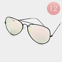 12 PCS - Oversized Mirror Lens Aviator Sunglasses