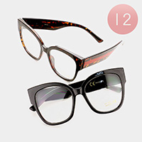 12 PCS - Oversized Square Optical Glasses
