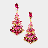 Marquise Glass Crystal Chandelier Evening Earrings