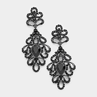Marquise Intricate Leaf Evening Earrings