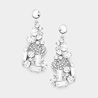 Marquise Glass Bubble Cluster Evening Earrings