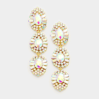 Marquise Bubble Cluster Triple Oval Disc Evening Earrings