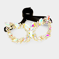 Oval Crystal Glass Masquerade Party Queen Mask