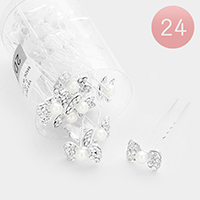 24PCS - Mini Bow Pearl Accented Hair Comb Pins