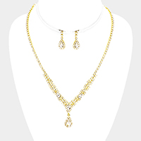 Pave Crystal Rhinestone Teardrop Dangle Necklace