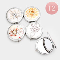 12PCS - Flower Watch Print Compact Mirrors