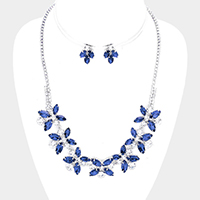 Pave Flower Statement Marquise Necklace