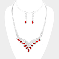 Cubic Zirconia Oval Stone Marquise Necklace