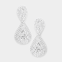 Cubic Zirconia Double Teardrop Evening Earrings