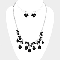 Crystal Rhinestone Teardrop Dangle Marquise Necklace