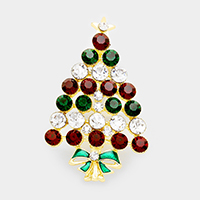 Bubble Glass Crystal Christmas Tree Pin Brooch