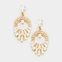 Cubic Zirconia Chandelier Evening Earrings