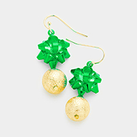 Christmas Gift Bow Frosted Metal Ball Earrings