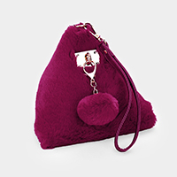 Pom Pom Charm Furry Triangle Wrist Clutch Bag