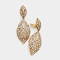 Pave Crystal Rhinestone Leaf Clip on Earrings