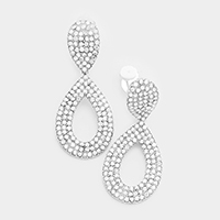 Pave Crystal Rhinestone Cut Out Teardrop Clip on Earrings
