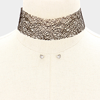 Wide Tattoo Mesh Choker Necklace