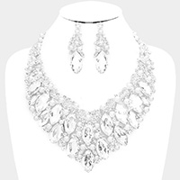 Pearl Oval Glass Crystal Cluster Vine Evening Necklace