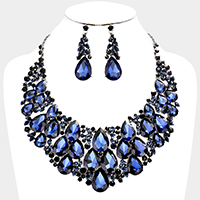Bubble Teardrop Glass Crystal Cluster Vine Evening Necklace