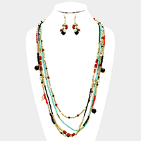 Multi Layered Seed Beaded Leaf Charm Long  Necklace