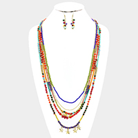 Layered Seed Beaded Metal Star Fringe Bib Long Necklace