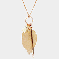 Natural Dipped Filigree Leaf Tiny Tassel Charm Long Necklace