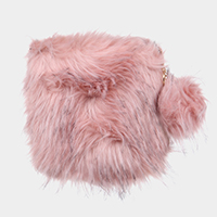 Furry Faux Fur Pom Pom Square Clutch Bag