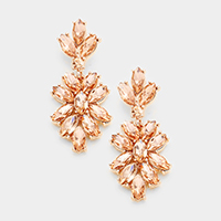 Marquise Glass Crystal Oval Cluster Vine Evening Earrings