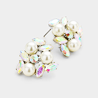 Pearl Oval Glass Crystal Cluster Earrings