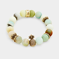 Semi Precious Beaded Metal Pineapple Stretch Bracelet