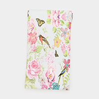 Faux Leather Flower Bird Print EyeGlass Case