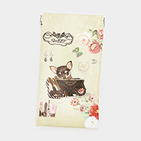 Faux Leather Dog Flower Print EyeGlass Case