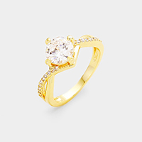 Twisted 14K Gold Plated CZ Ring