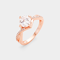 Twisted Rose Gold Plated CZ Ring