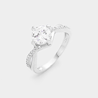 Twisted White Gold Plated CZ Ring