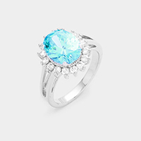 18K White Gold Plated Oval CZ Ring