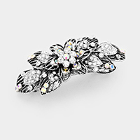 Antique Pave Crystal Flower Barrette