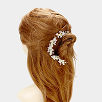 Pave Crystal Flower Leaf Hair Comb