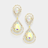 Crystal Glass Double Teardrop Evening Earrings