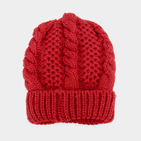 Soft Cable Knit Fur Lining Beanie