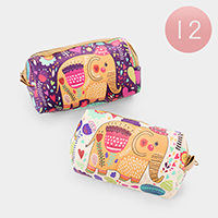 12PCS - Elephant Print Zipper Mini Pouches