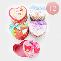 12PCS - Bear Print Heart Shape Bow Deco Jewelry Gift Boxes