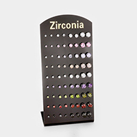 36Pairs - Round Cubic Zirconia Stud Earrings