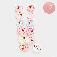 12PCS - Bling Straw Sun Hat Bow Deco Hair Clip