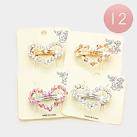 12PCS - Stone Trimmed Heart Hair Barrettes