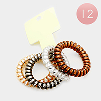 12PCS - Telephone Wire Hair Bands